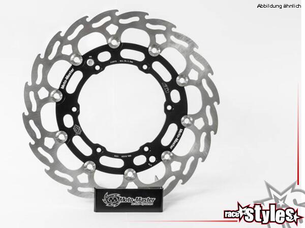 KTM Supermoto Racingbremsscheibe vorne 320mm von MotoMaster im Flame Design • schwarz eloxier