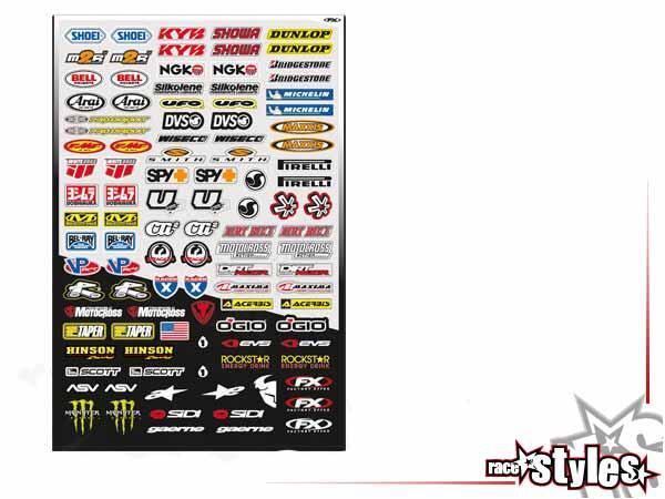 Sponsor Aufkleber Kit - micro. Bis zu 100 Sticker. Größe ca. 51x35cm.