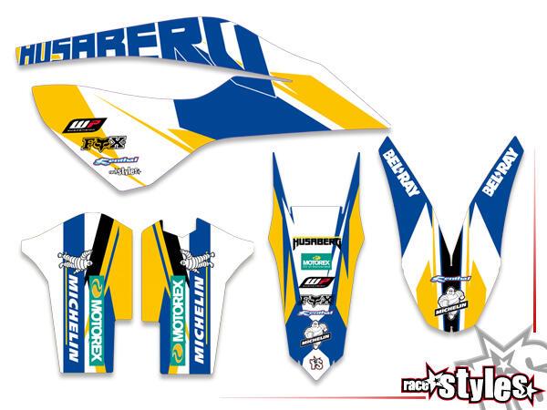 Brandings Basic Dekor-Kit für HUSABERG FC / FE / TE / FX / FS Modelle ab 2000-2013 bestehend aus Gabel li./re