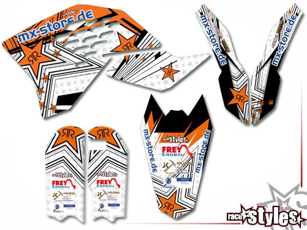 Brandings Basic Dekor-Kit für KTM SX50 2002-2015 / SX65 2000-2015 / SX85 2000-2012 bestehend aus Gabel li./re