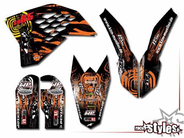 Factory-MX Basic Dekor-Kit für KTM SX50 2002-2015 / SX65 2000-2015 / SX85 2000-2012 bestehend aus Gabel li./re