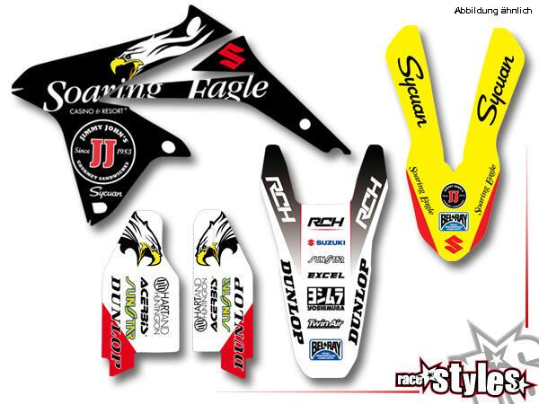 Brandings Basic Dekor-Kit für SUZUKI RM / RMZ (125 250 450) Modelle 1990-1999, 2000-2020 bestehend aus Gabel
