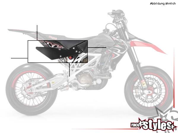 Seitenteile rechts und links in der Farbe schwarz. Passend für APRILIA SXV / RXV / MXV / 450-550 Mo