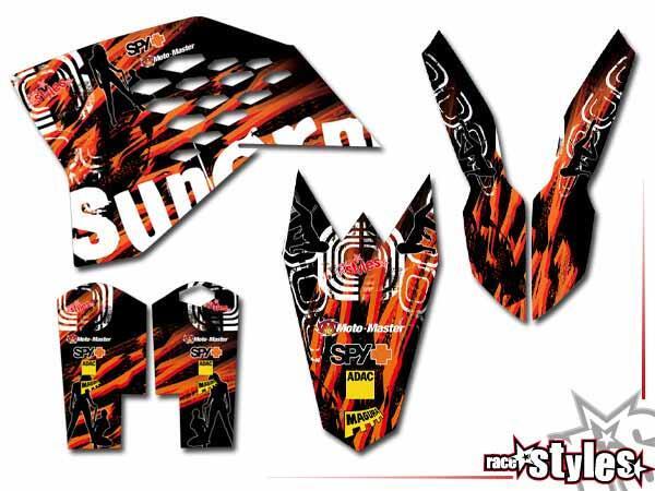 Graffiti-FX Basic Dekor-Kit für KTM SX / SX-F (2007-2010) und EXC / EXC-F / SMR (2008-2011) bestehend aus Gabel