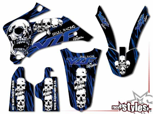 Skull-FMX Basic Dekor-Kit für YAMAHA YZ / YZF / WRF (125 250 450) Modelle 1990-1999, 2000-2020 bestehend aus