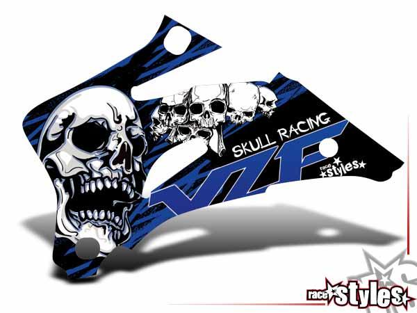 Skull-FMX Kühlerspoiler Dekor li./re. für YAMAHA YZ / YZF / WRF (125 250 450) Modelle 1990-1999, 2000-2020.