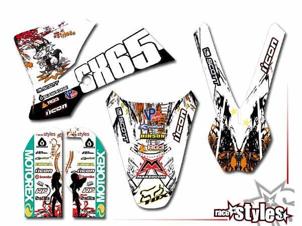 Graffiti-FX Basic Dekor-Kit für KTM SX50 2002-2015 / SX65 2000-2015 / SX85 2000-2012 bestehend aus Gabel li./re