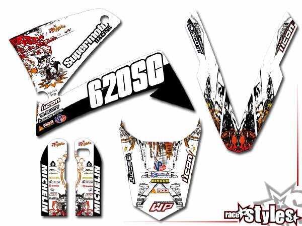 Graffiti-FX Basic Dekor-Kit  für KTM LC4 - SXC / SM / SMC / DUKE 620-660 (1998-2007) bestehend aus Gabel li./re