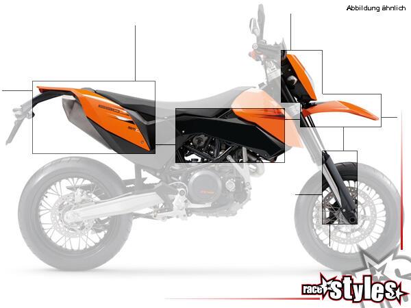 Der Plastik-Kit für KTM SMC 690 / ENDURO 690 (2008-2011), in einer Farbe deiner Wahl (schwarz -- sw