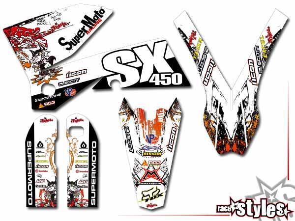 Graffiti-FX Basic Dekor-Kit für KTM SX / SX-F (1998-2006) und EXC / EXC-F / SMR (1998-2007) bestehend aus Gabel