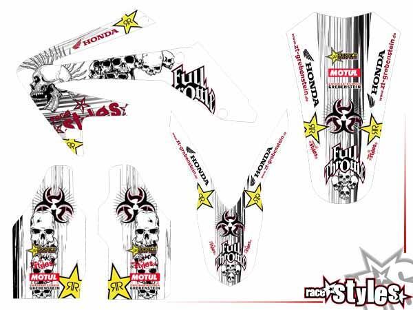 Skull-FMX Basic Dekor-Kit für HONDA CR / CRF (125 150 250 450) Modelle 1990-1999, 2000-2020 bestehend aus Gab