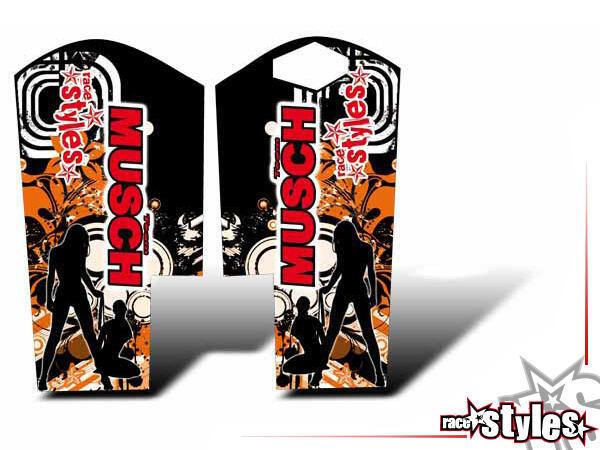 Graffiti-FX Gabelprotektoren Dekor li./re. für KTM SX / SX-F (2007-2010) und EXC / EXC-F / SMR (2008-2011).