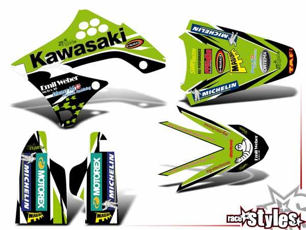 Green-Impact Basic Dekor-Kit für KAWASAKI KX / KXF (125 250 450) Modelle 1990-1999, 2000-2020 bestehend aus Gabe