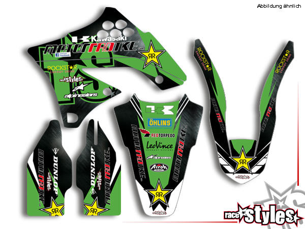 Factory-MX Basic Dekor-Kit für KAWASAKI KX / KXF (125 250 450) Modelle 1990-1999, 2000-2020 bestehend aus Gabe