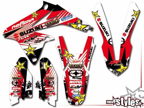 Factory-MX Basic Dekor-Kit für SUZUKI RM / RMZ (125 250 450) Modelle 1990-1999, 2000-2020 bestehend aus Gabel