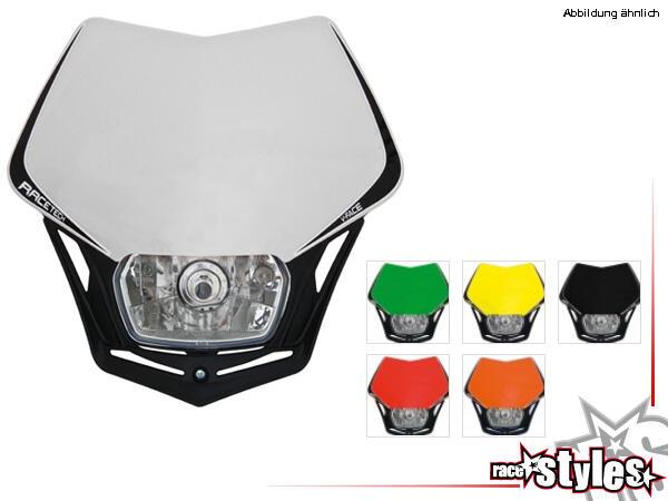 RACETECH Lampenmaske V-FACE mit E-Prüfzeichen, H4 Scheinwerfer, universal passend, inkl. Befestigun