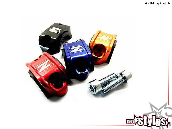 Sliderklemme Aluminium für verschiedene Motorradmodelle. CNC-gefräßte Halteschelle für Bremsarmatur