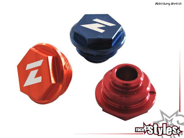 CNC-gefräßte Aluminiumdeckel für den Fußbremszylinder. Farblich eloxiert für verschiedene Motorradm