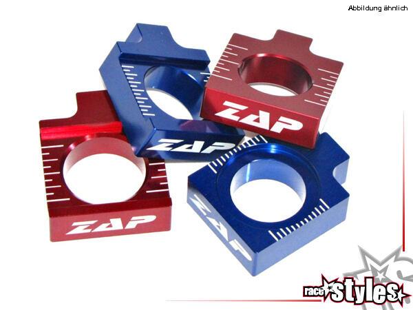 ZAP Achsenblöcke aus Aluminium. Farblich eloxiert für verschiedene Motorradmodelle. In verschiedene