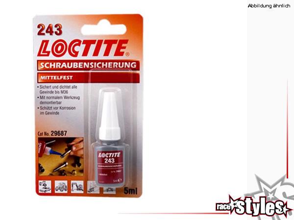 Loctite 243 Schraubensicherung, mittelfest.Sichert Schrauben, Muttern, Stehbolzen gegen das Losdreh