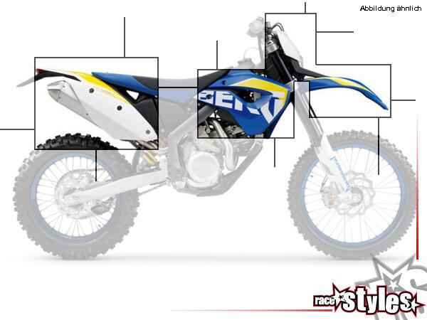 Plastik-Kit für Husaberg FE/TE/FX/FS Modelle 2009-2012. Verfügbar in verschiedenen Farben (schwarz