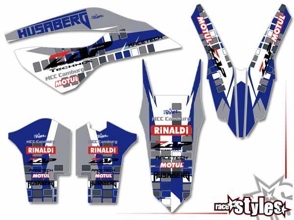 Basic Dekor-Kit für HUSABERG FC / FE / TE / FX / FS Modelle ab 2000-2013 bestehend aus Gabel li./re