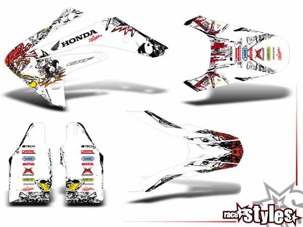 Basic Dekor-Kit für HONDA CR / CRF (50 70 85 150) Modelle 1990-1999, 2000-2020 bestehend aus Gabel
