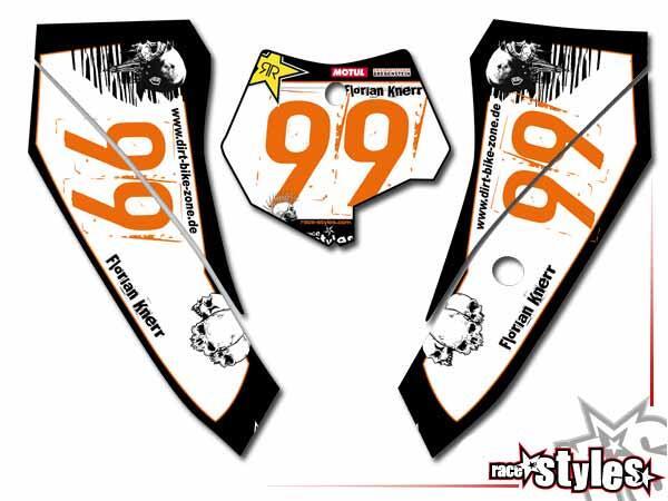 Skull-FMX Startnummernfelder Dekor-Kit für KTM SX50 2002-2015 / SX65 2000-2015 / SX85 2000-2012. inkl. Luftfi