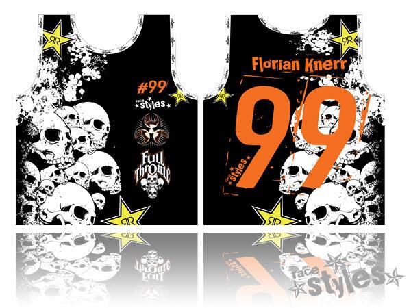 Skull-FMX ID-BIB bestehend aus 100% atmungsaktivem Polyester. Das Shirt kann vollständig personalisiert werde