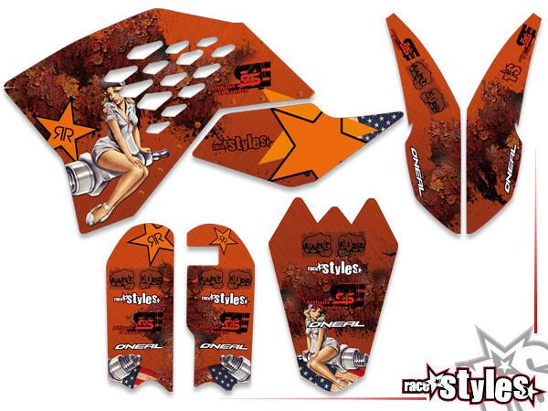 Basic Dekor-Kit für KTM SX50 2002-2015 / SX65 2000-2015 / SX85 2000-2012 bestehend aus Gabel li./re