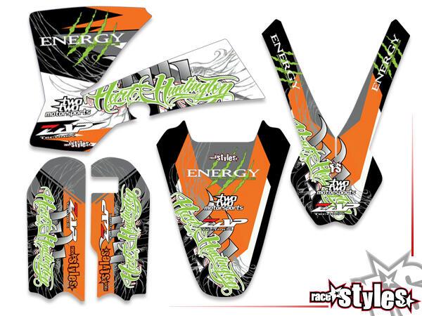 Huntington Basic Dekor-Kit für KTM SX50 2002-2015 / SX65 2000-2015 / SX85 2000-2012 bestehend aus Gabel li./re