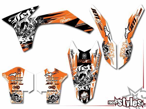 Skull-FMX Basic Dekor-Kit für KTM SX / SX-F (2011-2012, 2013-2015) und EXC / EXC-F / SMR (2012-2013, 2014-201