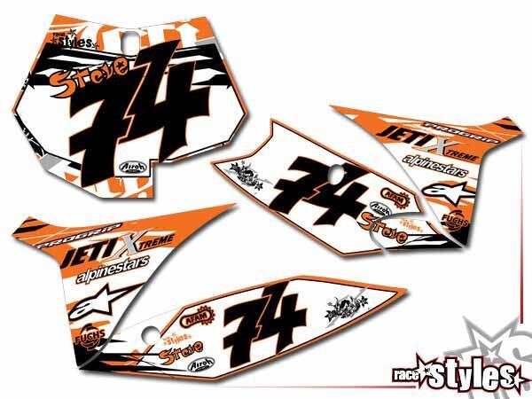 Skull-FMX Startnummernfelder Dekor-Kit für KTM SX / SX-F (2011-2012, 2013-2015) und EXC / EXC-F / SMR (2012-2