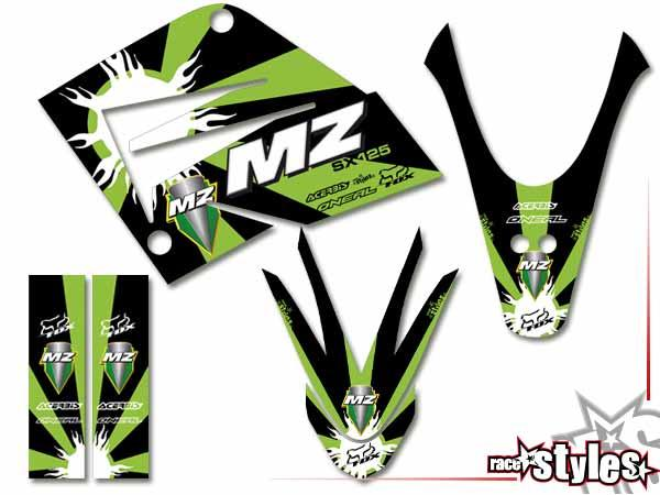 Skull-FMX Basic Dekor-Kit für MZ / MUZ, RT 125 SX / SM, 2000-2008 bestehend aus Gabel li./re., Kotflügel vo./