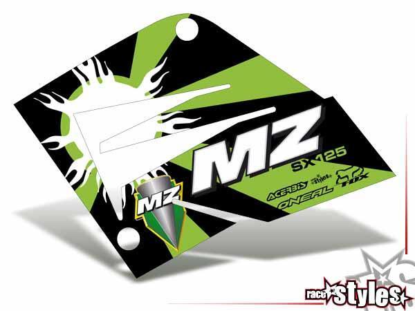 Kühlerspoiler Dekor li./re. für MZ / MUZ, RT 125 SX / SM, 2000-2008.