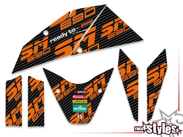 Basic Dekor-Kit für KTM Supermoto 690 R (2007-2010) bestehend aus Gabel li./re., Kotflügel vo./hi.