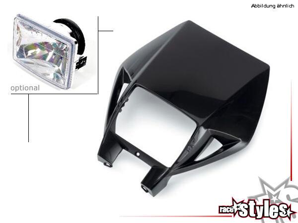 KTM EXC-EXCF Lampenmaske in verschiedenen Farben erhältlich. Optional: H4 Scheinwerfer mit Kunststo
