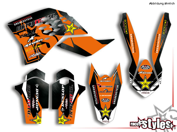 Basic Dekor-Kit für KTM SX / SX-F (2007-2010) und EXC / EXC-F / SMR (2008-2011) bestehend aus Gabel