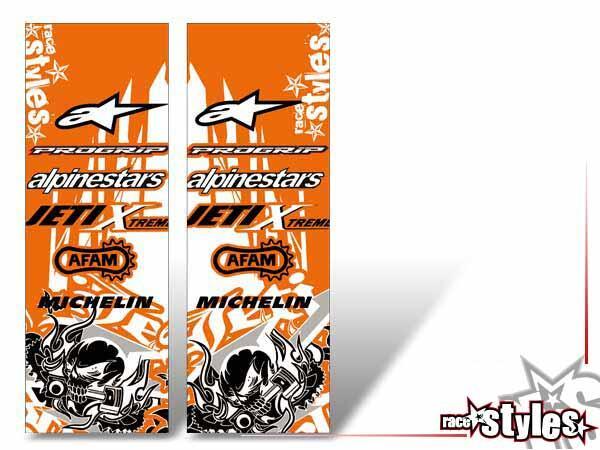 Skull-FMX Gabelprotektoren Dekor li./re. für KTM SX50 2002-2015 / SX65 2000-2015 / SX85 2000-2012.