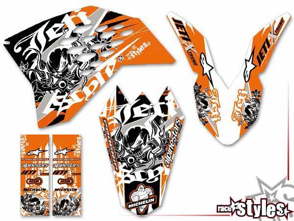 Skull-FMX Basic Dekor-Kit für KTM SX50 2002-2015 / SX65 2000-2015 / SX85 2000-2012 bestehend aus Gabel li./re