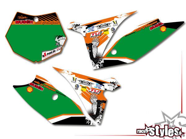 Factory-MX Startnummernfelder Dekor-Kit für KTM SX / SX-F (2011-2012, 2013-2015) und EXC / EXC-F / SMR (2012-2