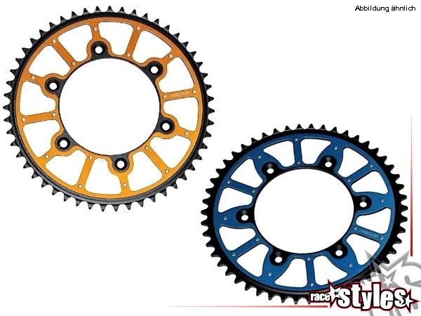 Die Zähne des Kettenrads bestehen aus Stahl, der Mittelteil aus Aluminium. Die beiden Teile sind du