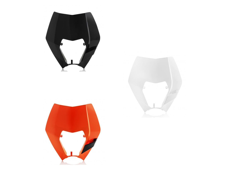 KTM EXC-EXCF Lampenmaske ohne Dekor, in verschiedenen Farben erhältlich. Optional: H4 Scheinwerfer