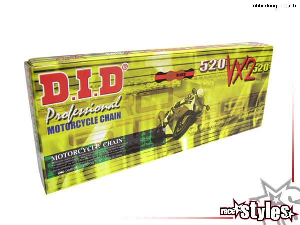DID 520 VX2 Kette (118G) gold/black, Premium X-Ring Kette mit überlegener Stärke für enorme Leistun