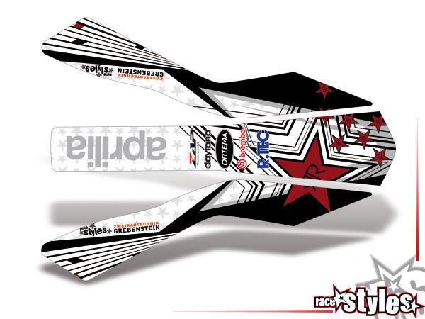 Silver-LINE Kotflügel Dekor für APRILIA SXV / RXV / MXV / 450-550 Modelle.