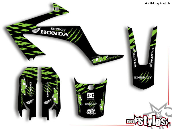 Basic Dekor-Kit für HONDA FMX 650, 2005-2007 bestehend aus Gabel li./re., Kotflügel vo./hi. und Küh