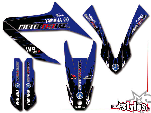 Factory-MX Basic Dekor-Kit für YAMAHA WR 125X / 125R (2009-2017) bestehend aus Gabel li./re., Kotflügel vo./hi