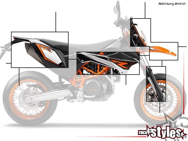 Der Plastik-Kit für KTM SMC 690 R / ENDURO (2012-2017), in einer Farbe deiner Wahl (schwarz -- sw,