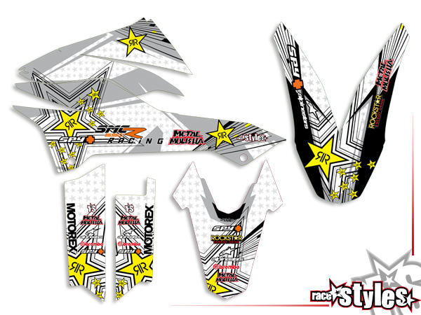 Street-LINE Basic Dekor-Kit für KTM 690 SMC / SMC-R / ENDURO (2008-2017) bestehend aus Gabel li./re., Kotflügel