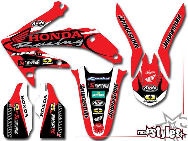 LTD.-Edition Basic Dekor-Kit für HONDA CR / CRF (125 150 250 450) Modelle 1990-1999, 2000-2020 bestehend aus Gab
